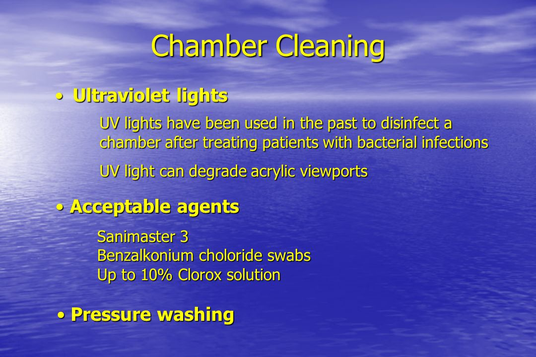 Chamber Cleaning Ultraviolet lights