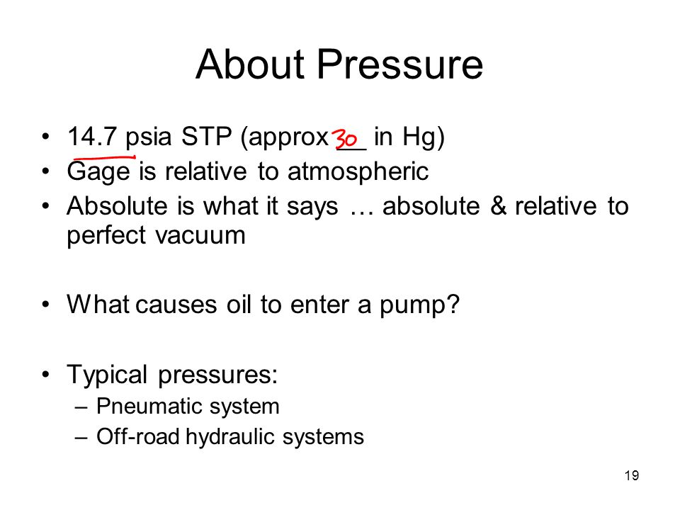 About Pressure 14.7 psia STP (approx __ in Hg)