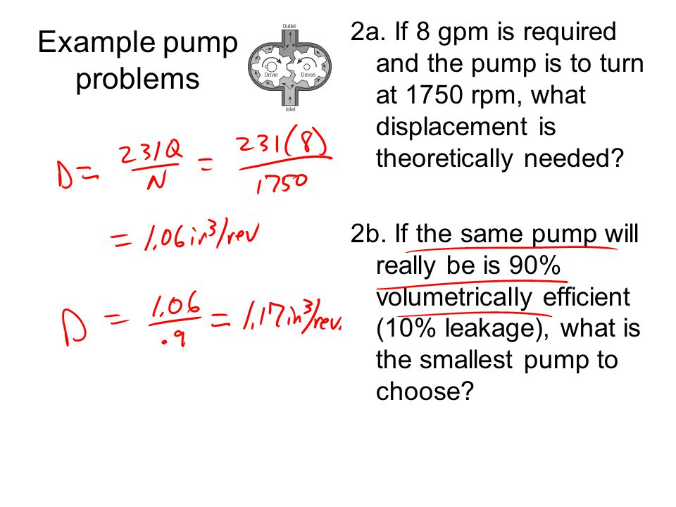 2a. If 8 gpm is required and the pump is to turn at 1750 rpm, what displacement is theoretically needed