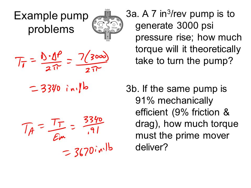 Example pump problems 3a. A 7 in3/rev pump is to generate 3000 psi pressure rise; how much torque will it theoretically take to turn the pump