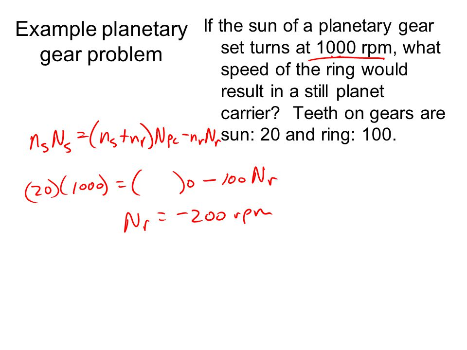 Example planetary gear problem