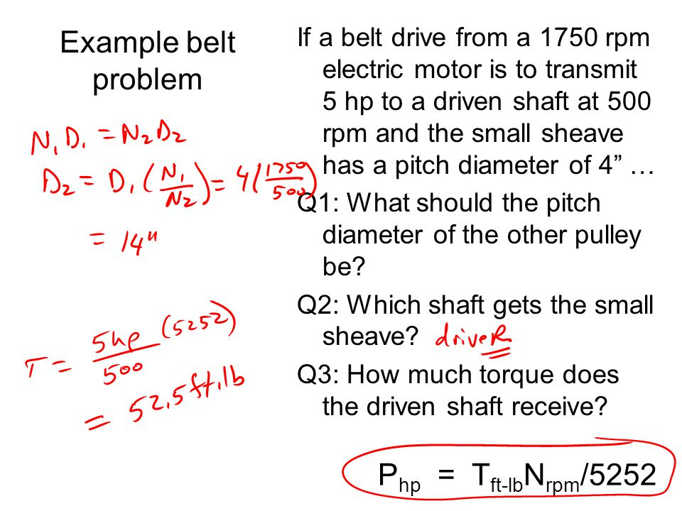 Example belt problem Php = Tft-lbNrpm/5252