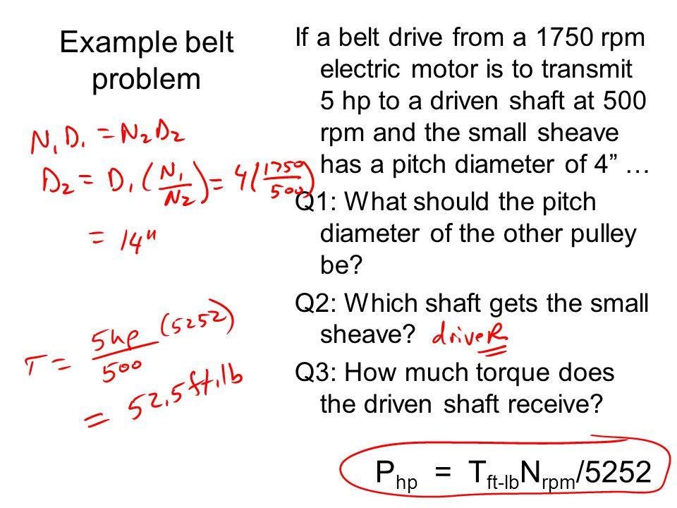 Example belt problem Php = Tft-lbNrpm/5252