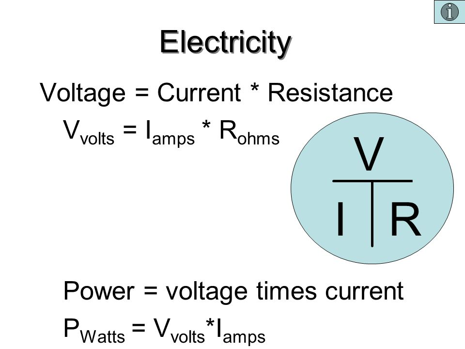 V I R Electricity Voltage = Current * Resistance