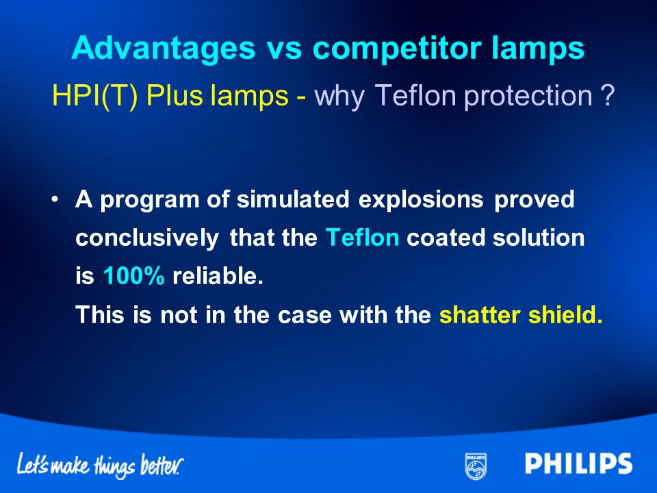 Advantages vs competitor lamps HPI(T) Plus lamps - why Teflon protection