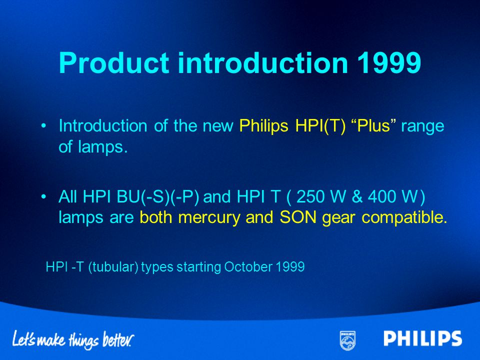 Product introduction 1999 HPI -T (tubular) types starting October 1999