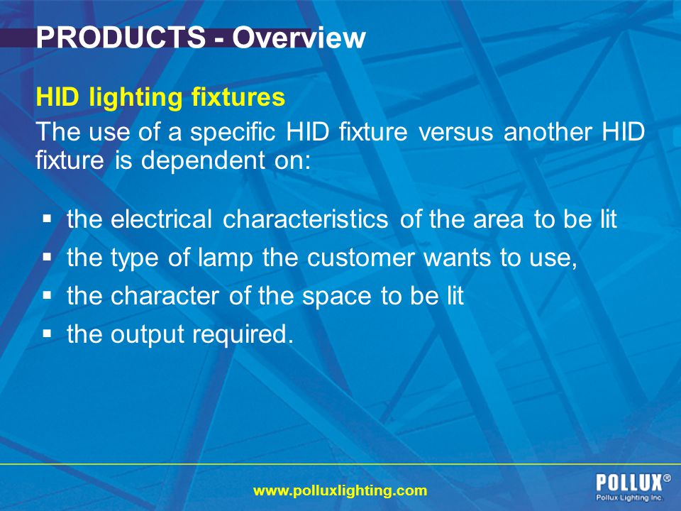 PRODUCTS - Overview HID lighting fixtures