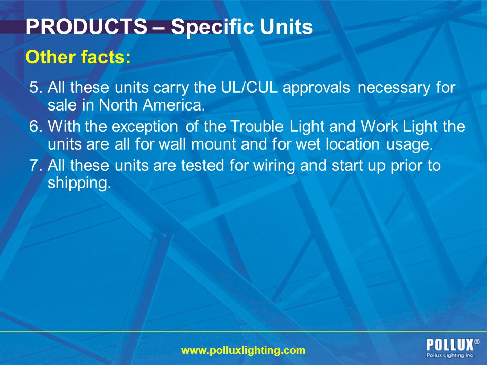 PRODUCTS – Specific Units