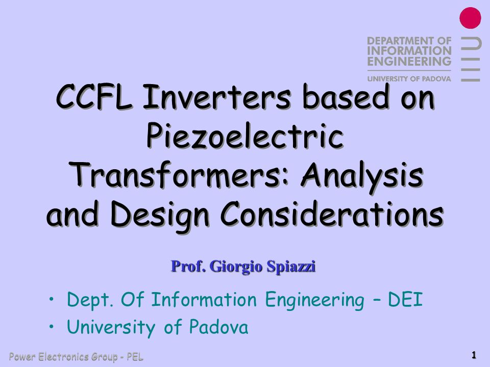 CCFL Inverters based on Piezoelectric Transformers: Analysis and Design Considerations