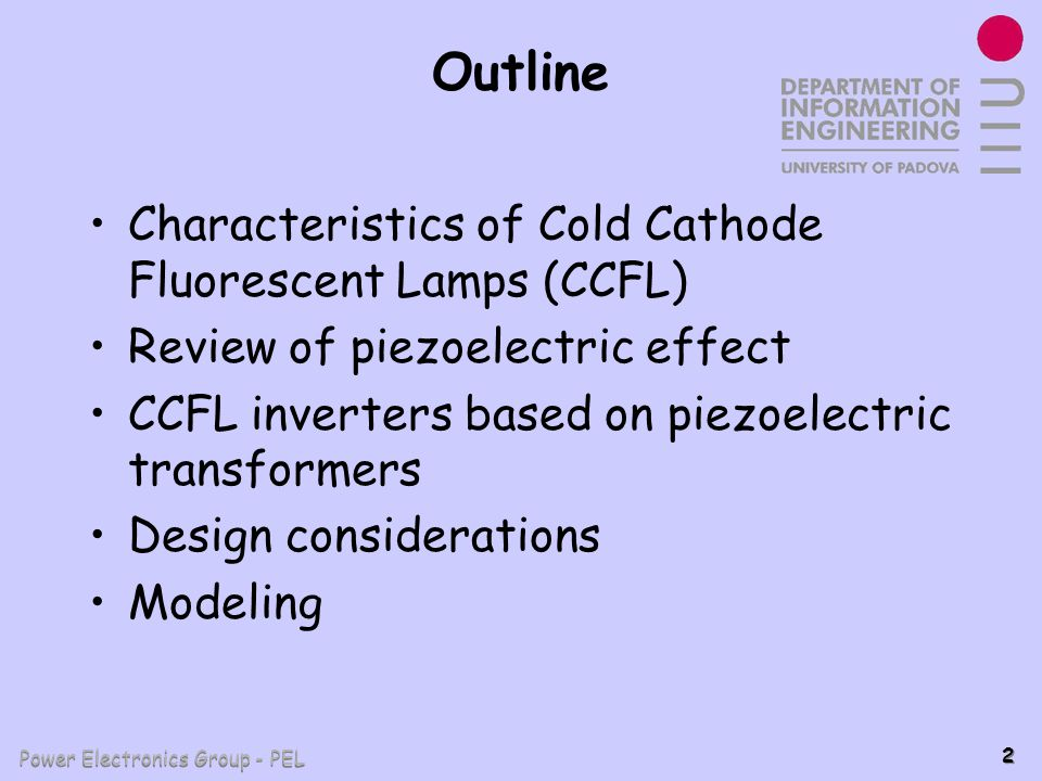 Outline Characteristics of Cold Cathode Fluorescent Lamps (CCFL)