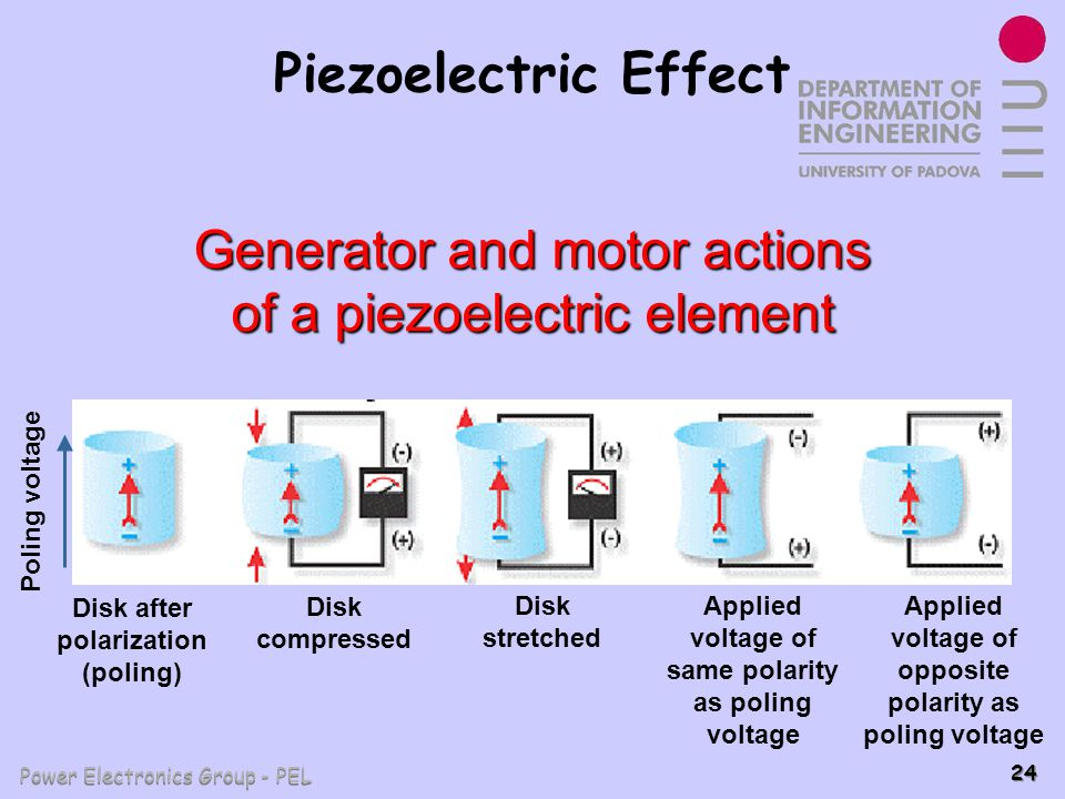 Generator and motor actions of a piezoelectric element