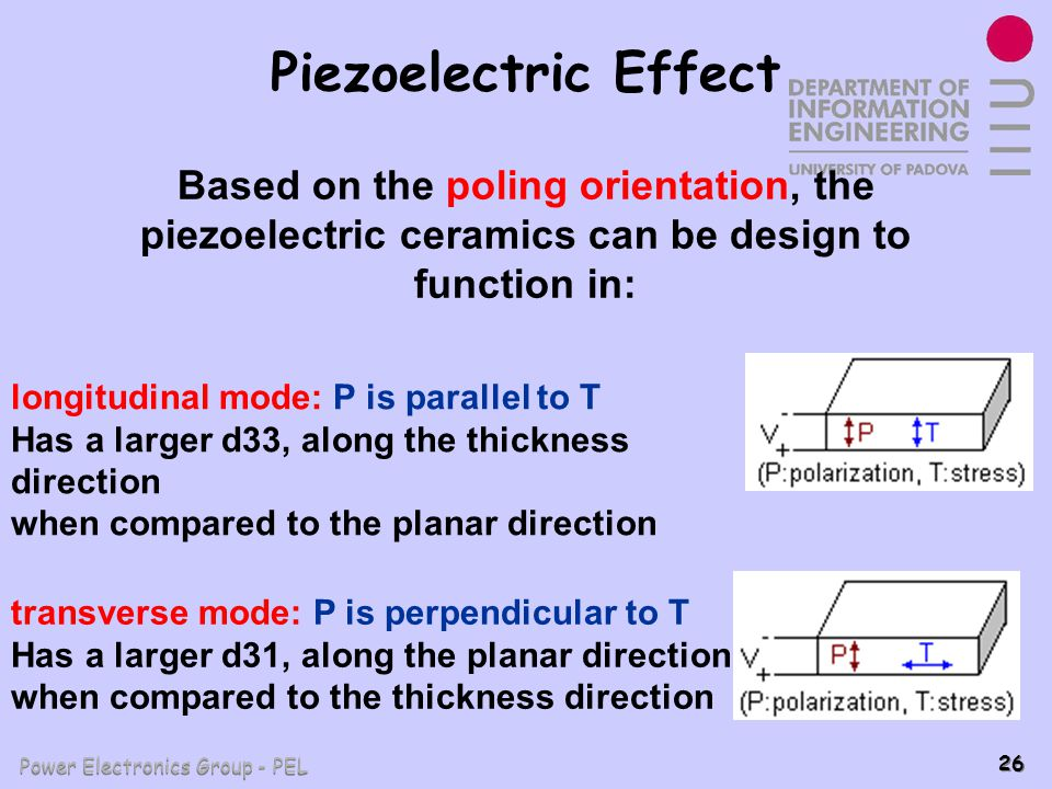 Piezoelectric Effect Based on the poling orientation, the piezoelectric ceramics can be design to function in: