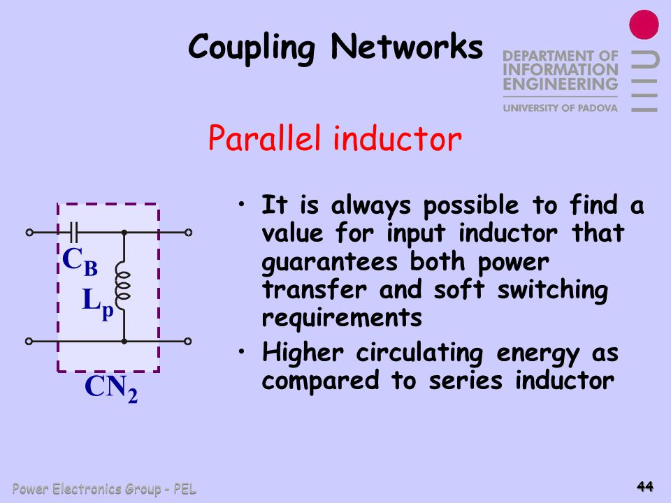 Coupling Networks Parallel inductor CB Lp CN2