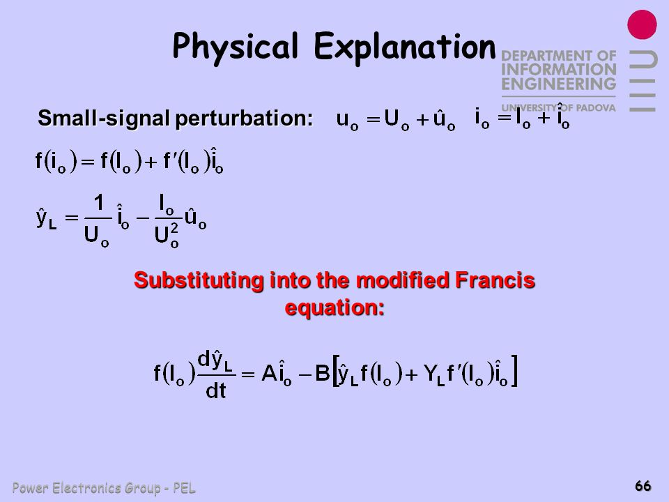 Physical Explanation Small-signal perturbation: