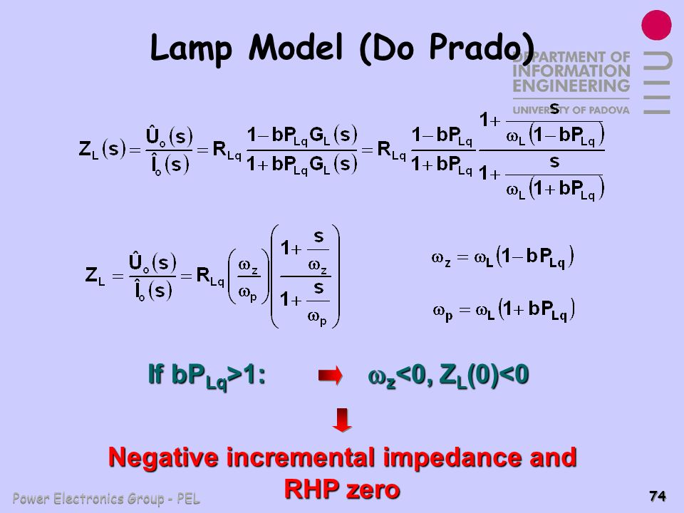Negative incremental impedance and RHP zero