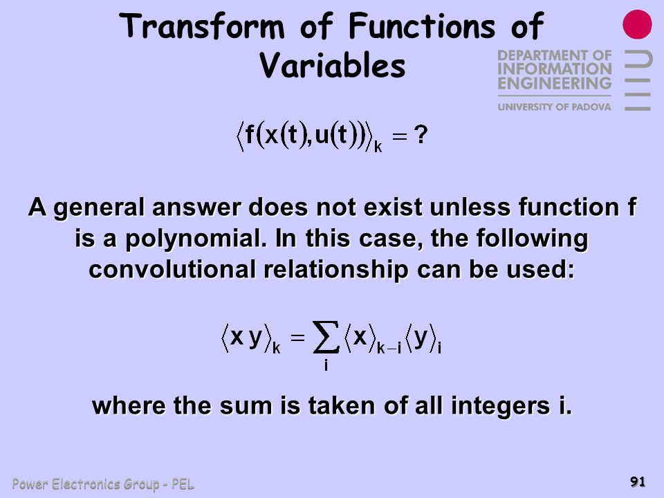 Transform of Functions of Variables