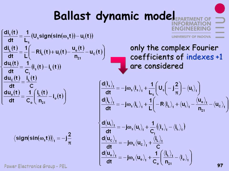 Ballast dynamic model only the complex Fourier coefficients of indexes +1 are considered