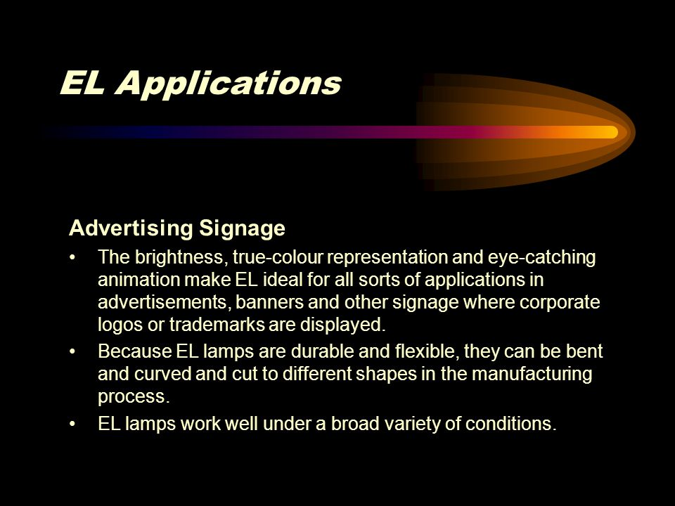 EL Applications Advertising Signage