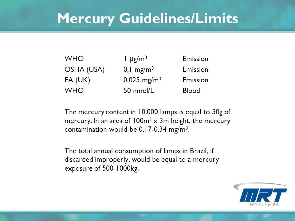Mercury Guidelines/Limits