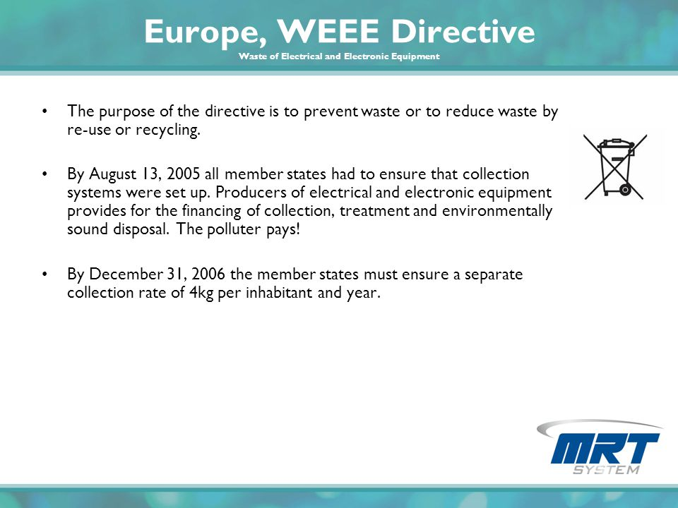 Europe, WEEE Directive Waste of Electrical and Electronic Equipment