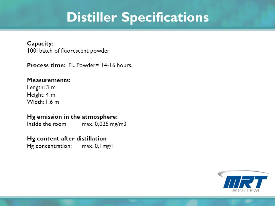 Distiller Specifications