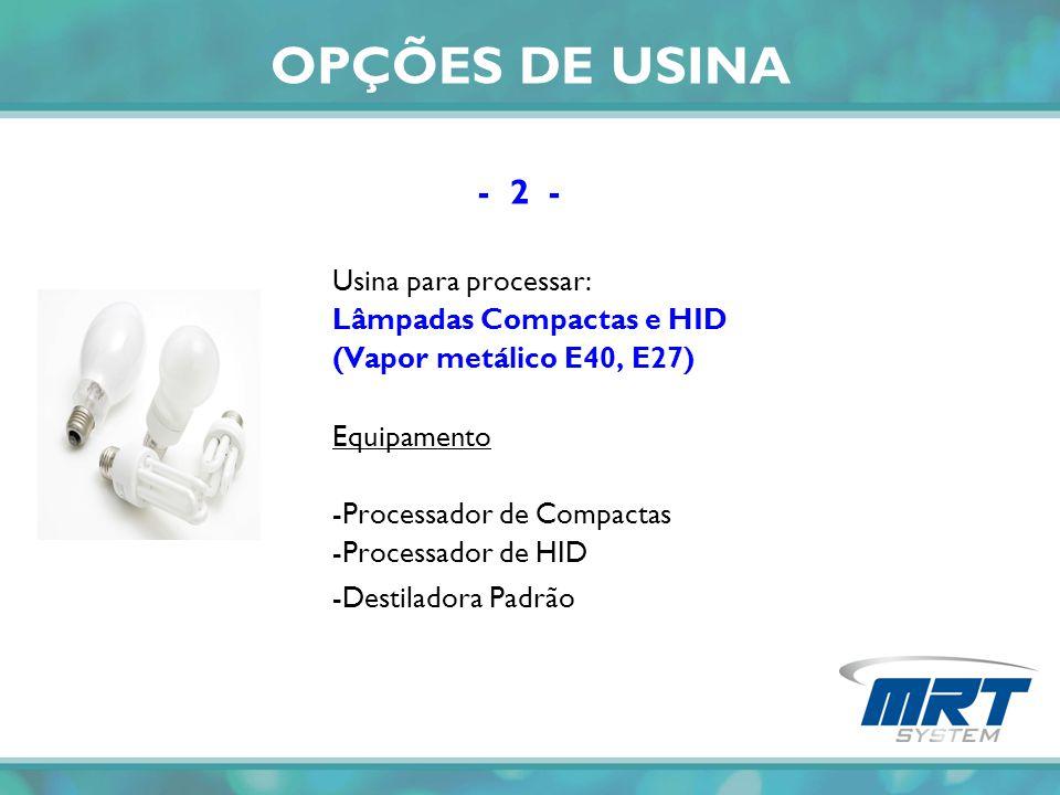 OPÇÕES DE USINA - 2 - Usina para processar: Lâmpadas Compactas e HID