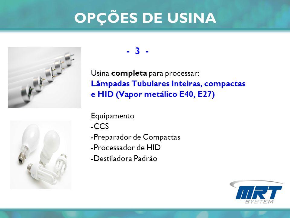 OPÇÕES DE USINA - 3 - Usina completa para processar: