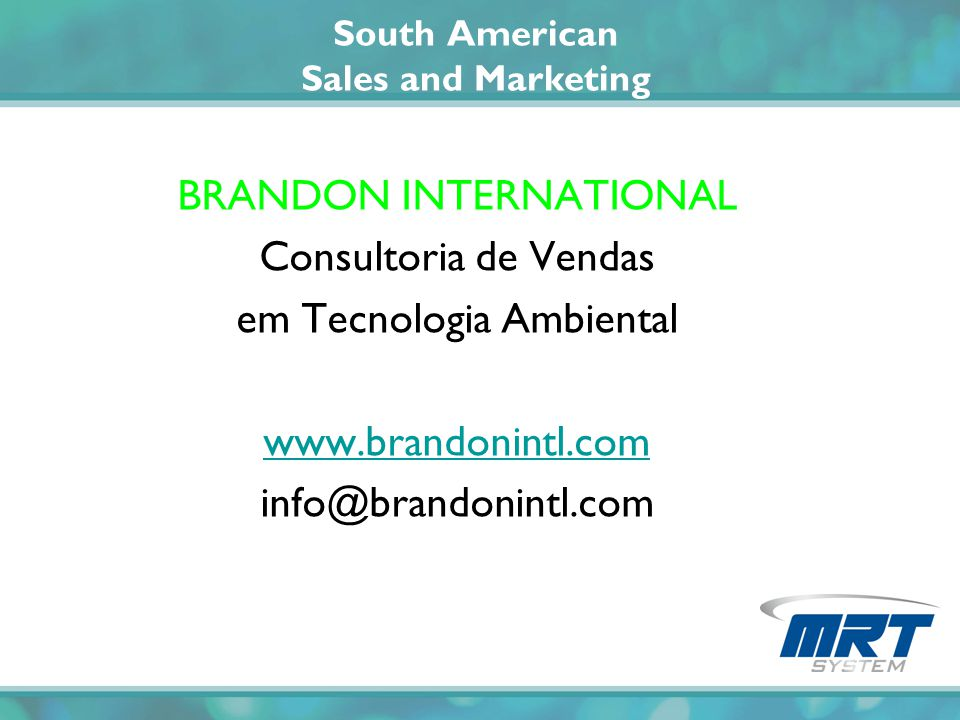 South American Sales and Marketing