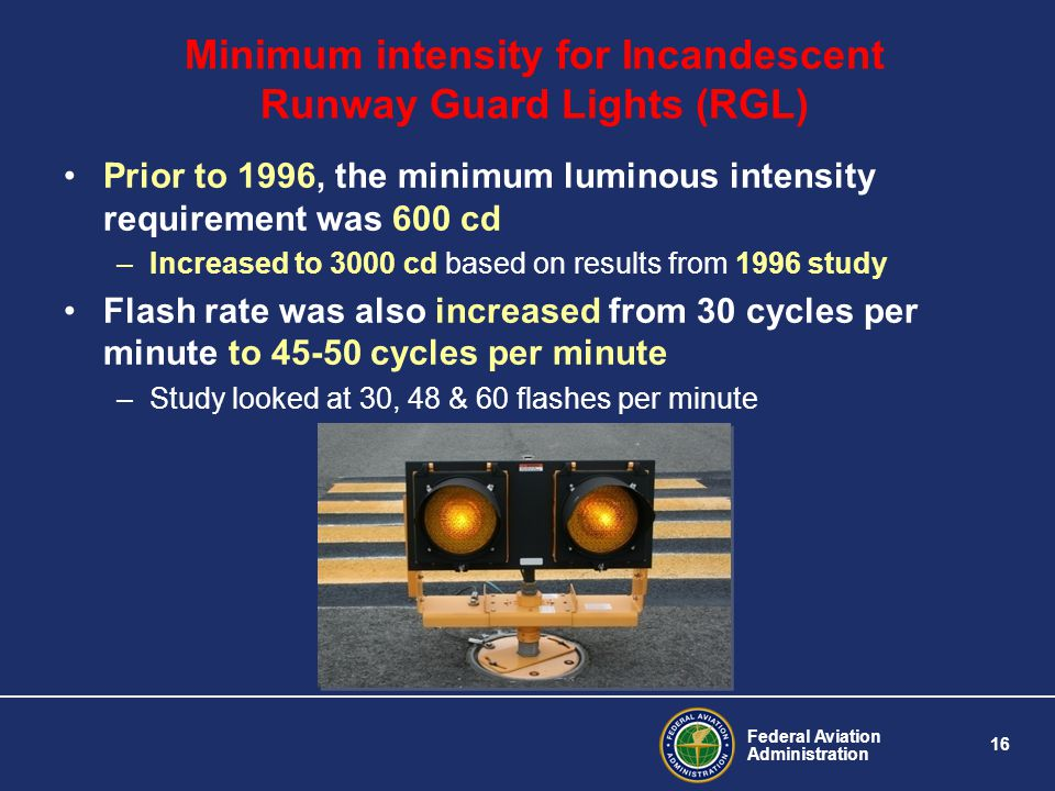 Minimum intensity for Incandescent Runway Guard Lights (RGL)