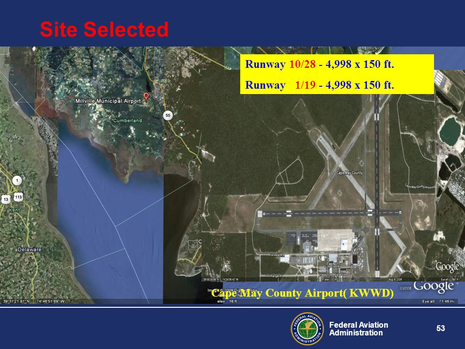 Site Selected Runway 10/28 - 4,998 x 150 ft.