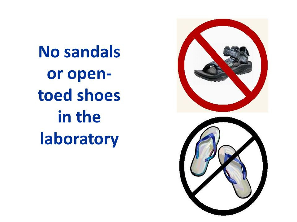 No sandals or open-toed shoes in the laboratory