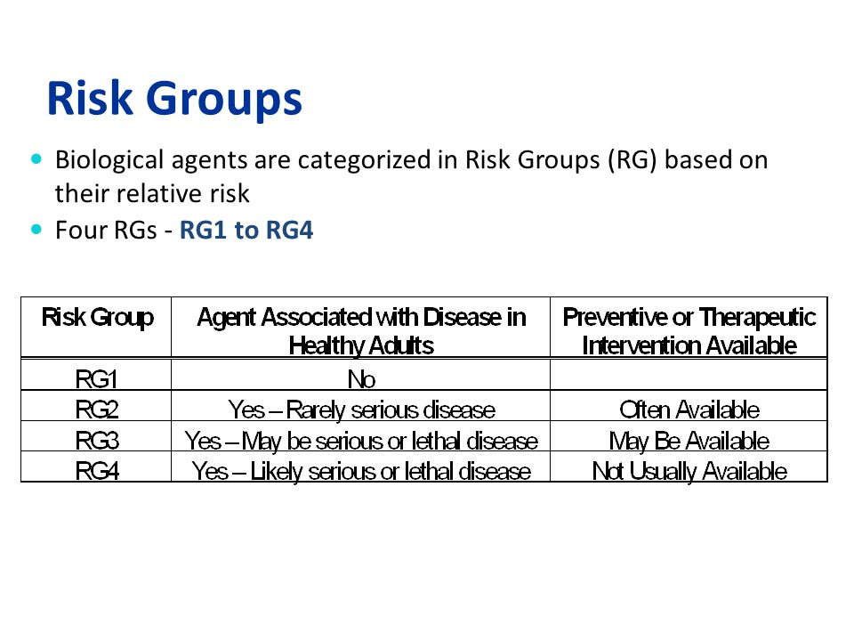 Risk Groups Biological agents are categorized in Risk Groups (RG) based on their relative risk.