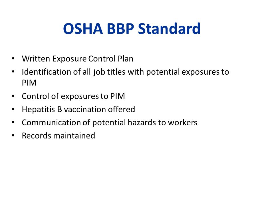 OSHA BBP Standard Written Exposure Control Plan