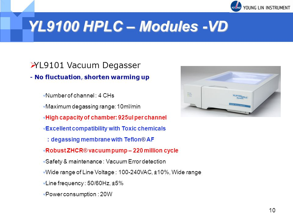 YL9100 HPLC – Modules -VD YL9101 Vacuum Degasser