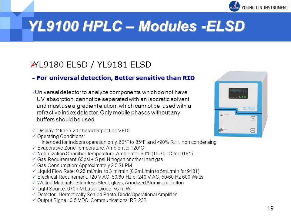 YL9100 HPLC – Modules -ELSD YL9180 ELSD / YL9181 ELSD