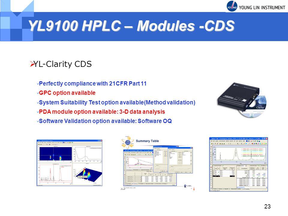 YL9100 HPLC – Modules -CDS YL-Clarity CDS