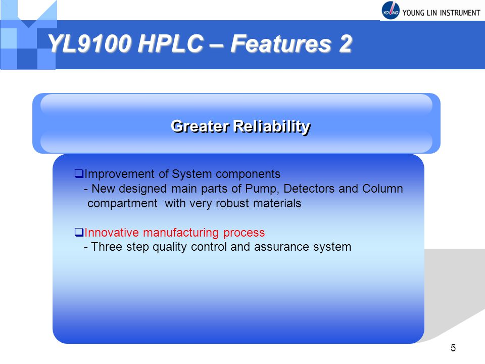 YL9100 HPLC – Features 2 Greater Reliability