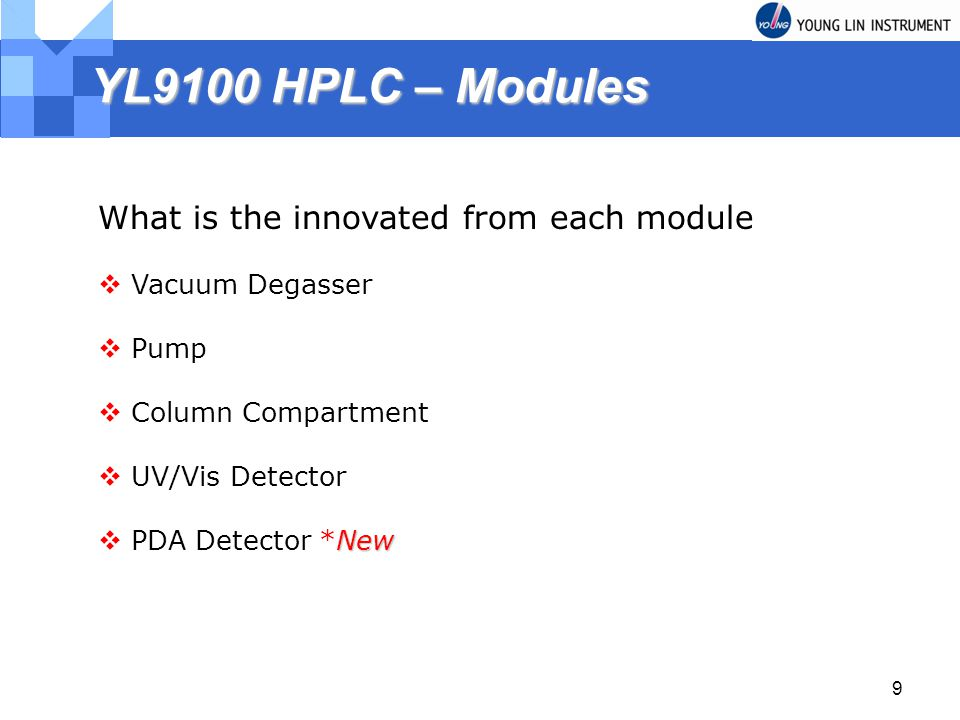 YL9100 HPLC – Modules What is the innovated from each module