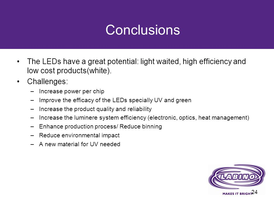 Conclusions The LEDs have a great potential: light waited, high efficiency and low cost products(white).