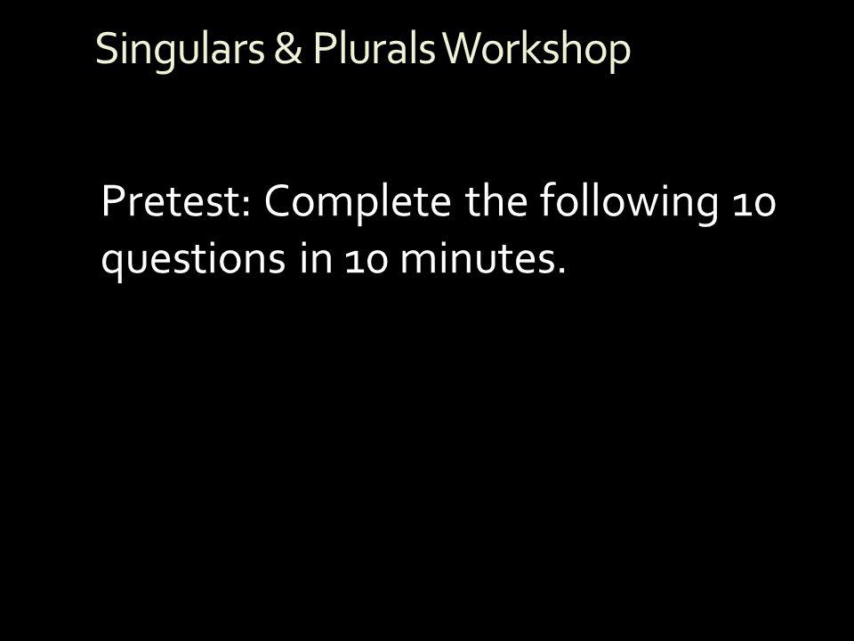 Singulars & Plurals Workshop