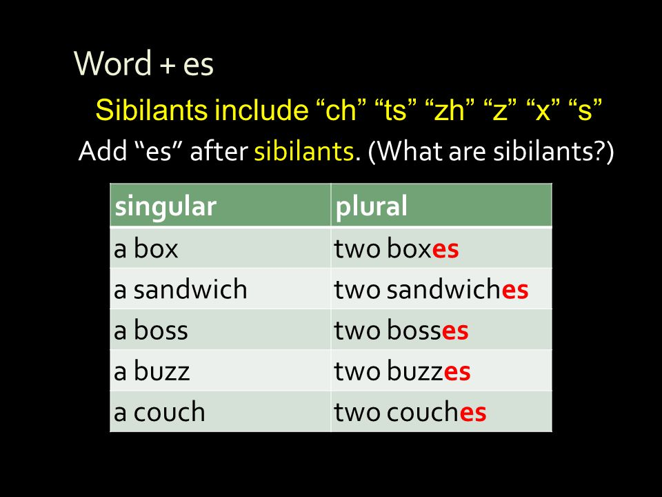 Word + es Sibilants include ch ts zh z x s