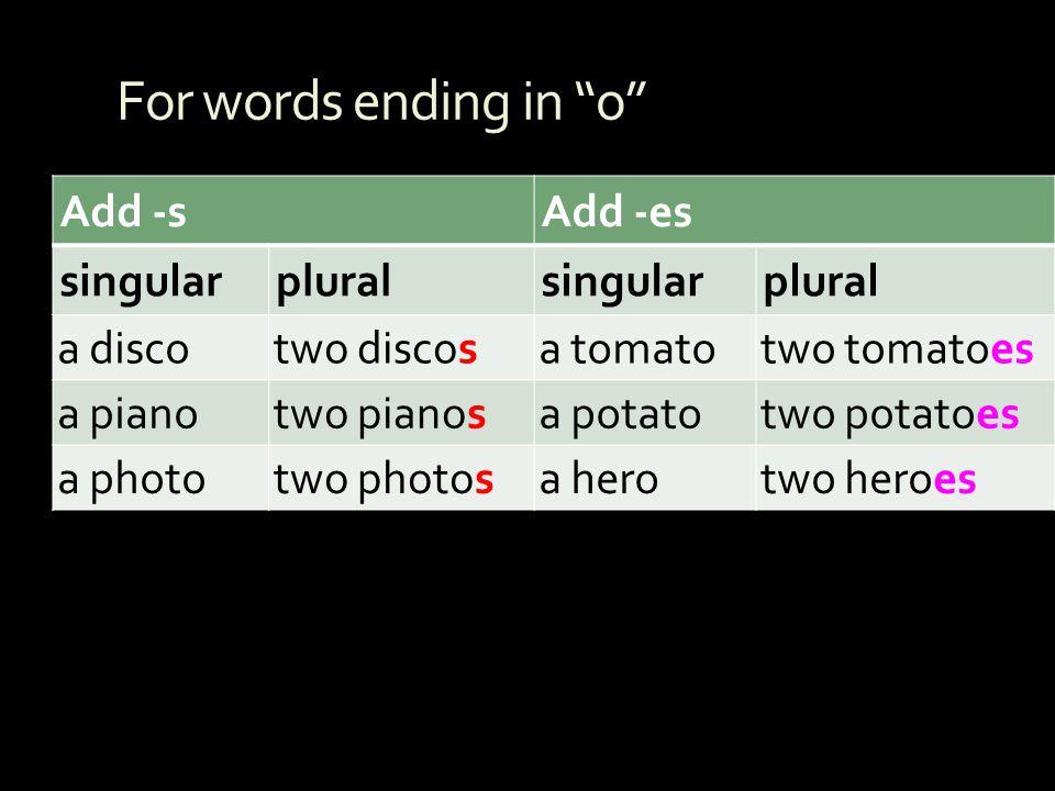 For words ending in o Add -s Add -es singular plural a disco
