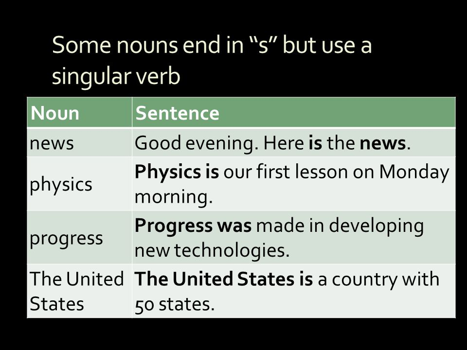 Some nouns end in s but use a singular verb