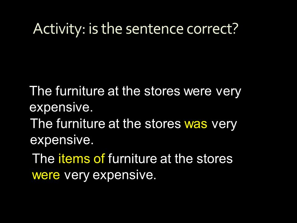 Activity: is the sentence correct