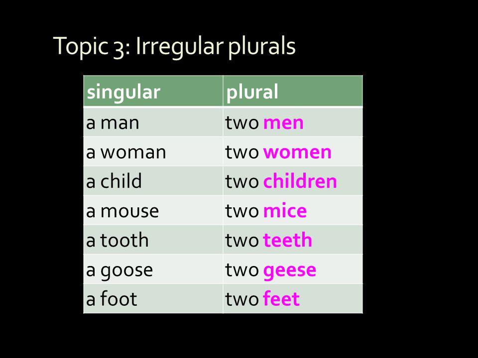 Topic 3: Irregular plurals