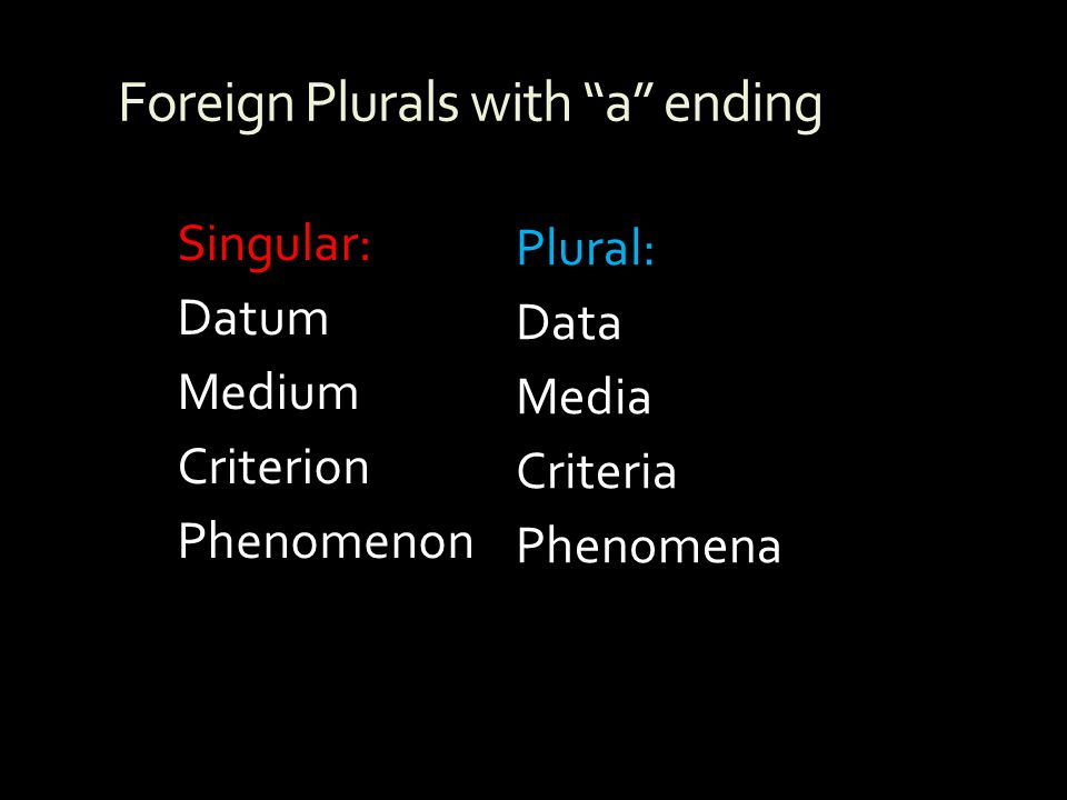 Foreign Plurals with a ending
