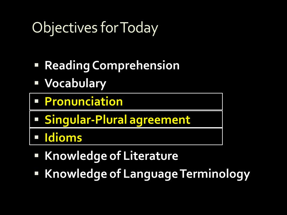Objectives for Today Reading Comprehension Vocabulary Pronunciation