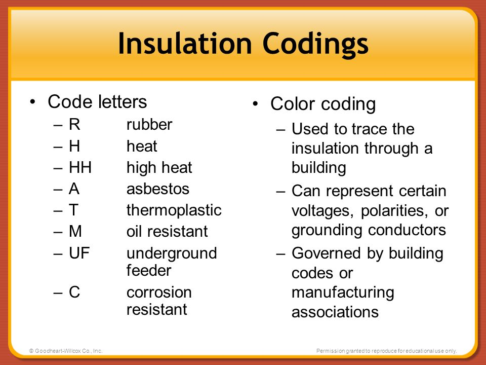 Insulation Codings Code letters Color coding R rubber H heat