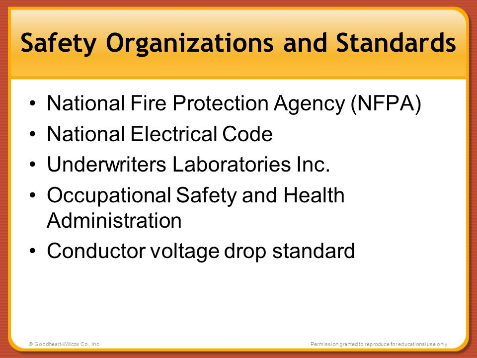 Safety Organizations and Standards