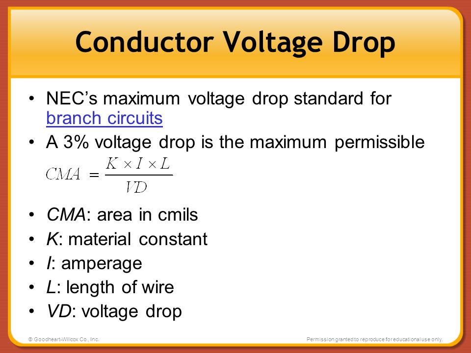 Conductor Voltage Drop